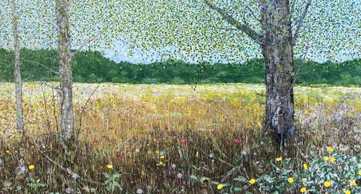 Field with Three Trees and Wild Flowers